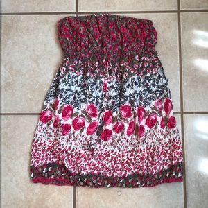 Floral mini strapless beach dress